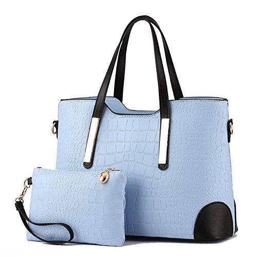Pahajim PU leather women top handle satchel handbags tote purse Crocodile handbag (light blue)