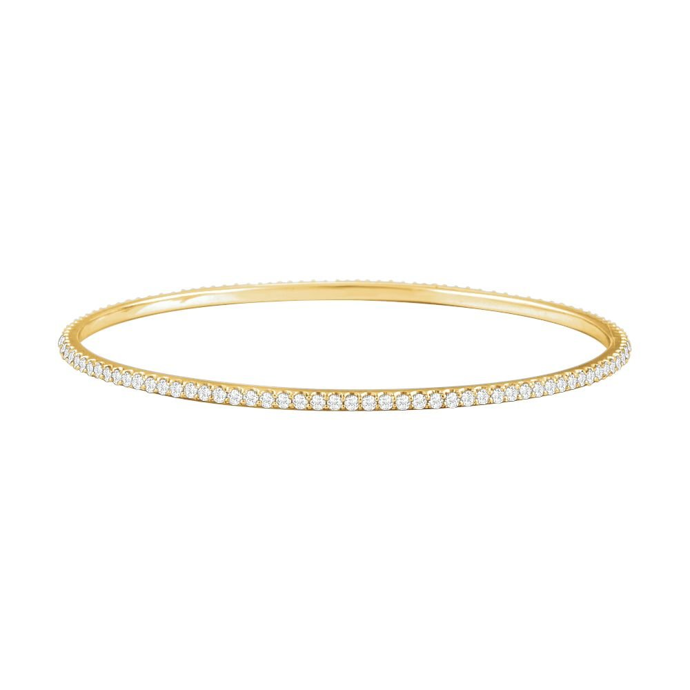 14k Yellow Gold 3 Ct Diamond Stackable Bangle Bracelet by Jewelplus