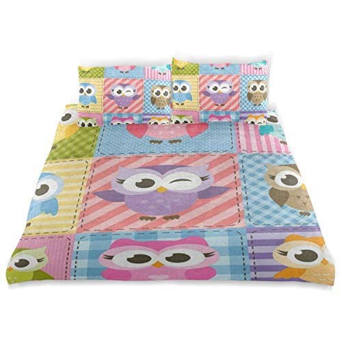 (OSBLI Bedding Duvet Cover Set 3 Pieces Colorful Funny Owl Plaid Bed Sheets Sets and 2 Pillowcase for Teens)
