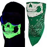 Kelly Green Paisley Reversible Glow In The Dark Neon No Fangs Skull VELCROBrand Adjustable Close Cotton Biker Bandana Mask Face Cover