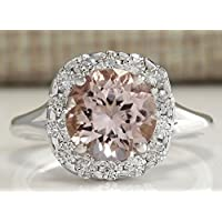 Sumanee Women 925 Silver Round Cut Morganite Gemstone Ring Engagement Jewelry Size 6-10 (10)
