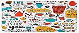 Lunarable Saying Kitchen Mat, Doodle Food Themed
