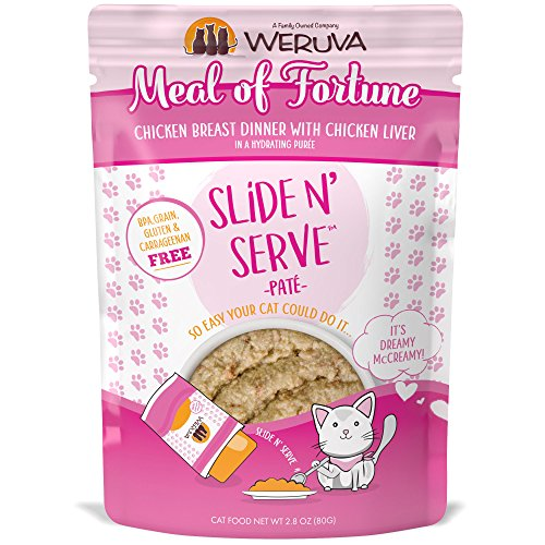 Serve Meals - Weruva Slide N' Serve Paté Wet Cat Food, Meal Of Fortune Chicken Breast Dinner With Chicken Liver, 2.8Oz Pouch (Pack Of 12)