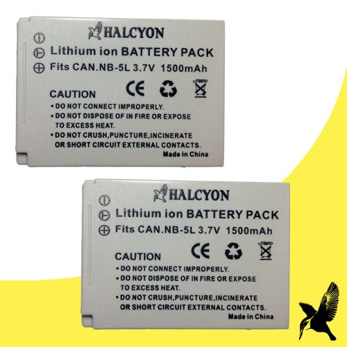 (Two Halcyon 1500 mAH Lithium Ion Replacement Battery for Canon PowerShot ELPH SD950 IS 12.1 MP Digital Camera and Canon NB-5L)