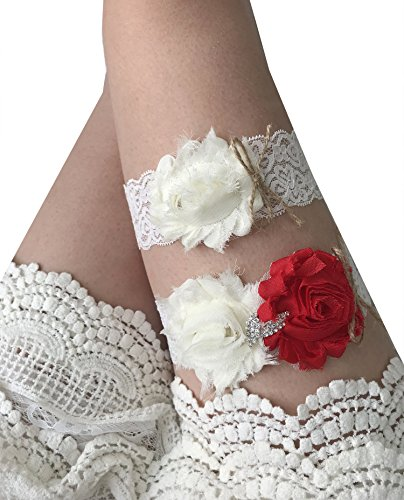 YuRong Bridal Garter Set Rose Garter Set Wedding Rhinestone Garter Set G29 (Red) ()
