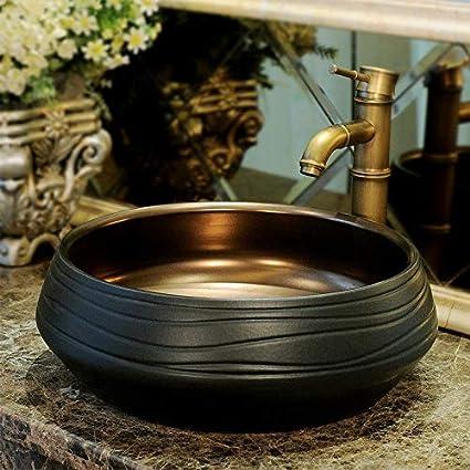 SNOLEK Peinture Chinoise dor/é Lavabo Art C/éramique Noir Laque Noir 1