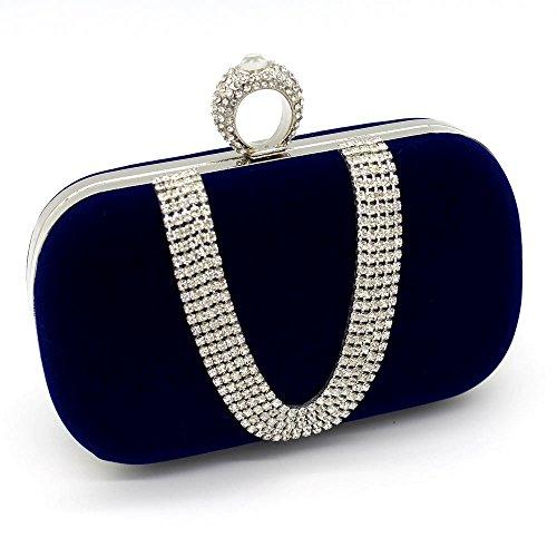 Velvet Evening Handbag - Kingluck Velvet with Austria Rhinestones/Aluminiumsheet Evening Handbags/Clutches More Colors Available (blue)