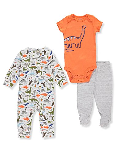 Carter's Baby Boys' 3 Piece Dinosaur Sleep and Play Set (Jersey Striped Onesie)