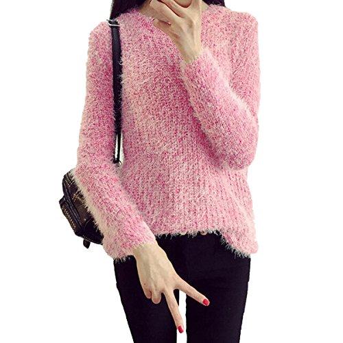 Mohair Blend Sweater (Evaliana Women Fluffy Mohair Blend Pullover Knit Sweater Jumper Knitwear)