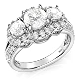 Sz 9 Sterling Silver 925 3 Stone CZ Cubic Zirconia Halo Engagement Ring