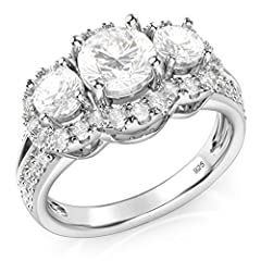 This stunning sterling silver band ring features 3 round brilliant cut cubic zirconia stones with small side stone set around them in halo fashion. Rhodium plating to prevent tarnishing.
