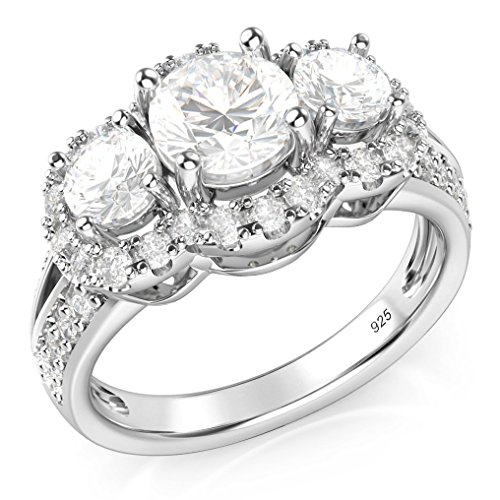 Metal Factory Sz 10 Sterling Silver 925 3 Stone CZ Cubic Zirconia Halo Engagement Ring ()