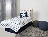 Bacati Stars Muslin 4 Piece Toddler Bedding Set, Navy