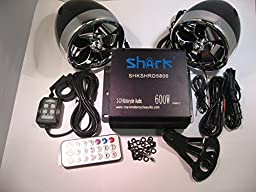 Shark Shkamp5800mx6800 600 Watt Motorcycle Marine Audio System w/ 3.5 Speakers + Wired / Wireless Remote+antenna Mixed Speakers Black Amp