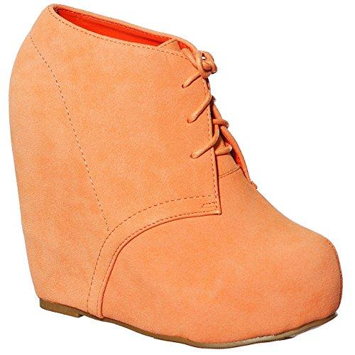 STYLES Wedge Platform up Bootie Women's Fashion Peach Comfort Lace NEW dFgqp7g