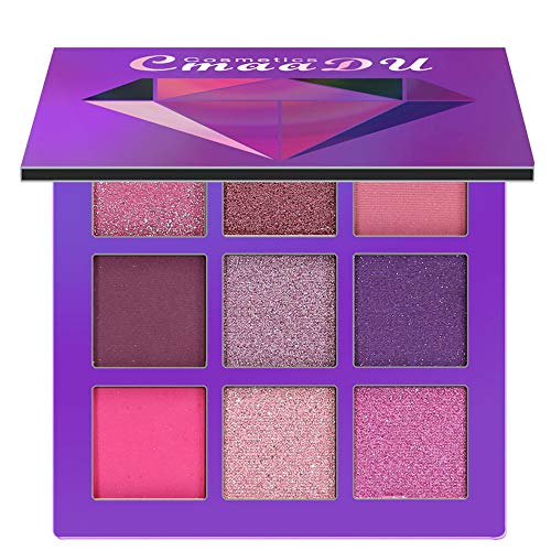 AmyDong Diamond Bright Eye Shadow Tray - Cosmetic Matte Cream Makeup Palette Shimmer Set 9 Colors Eyeshadow ()