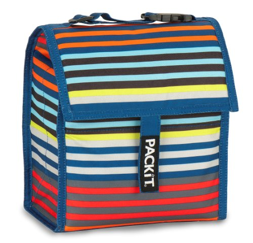 PackIt Freezable Lunch Bag with Adjustable Strap, Cali Stripe