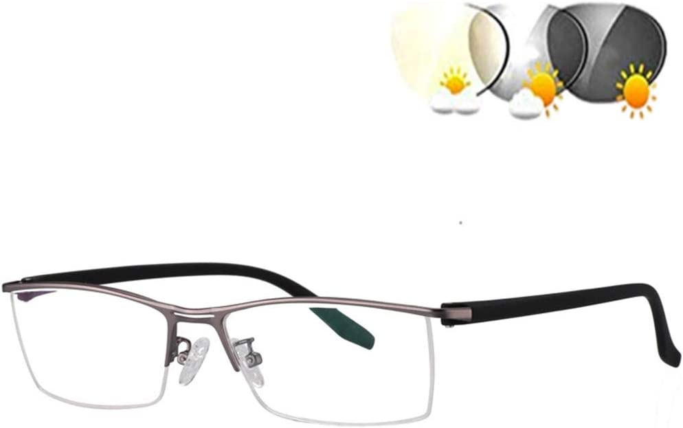 DOUBLX De los Hombres Fotocrómica polarizada Gafas de Sol, Bloqueo de luz Azul Gafas de Lectura, Protección 100% UVA UVB con Ultra Light Marco de Metal para Conducir,Gris,+1.5