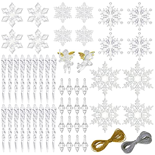 CHolic 52pcs Icicles Ornaments Set, Clear Snowflake Acrylic Christmas Ornaments for Christmas Tree, Christmas Party Decorations
