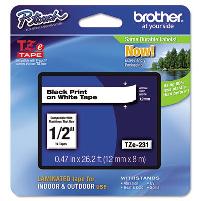 Genuine P-Touch, TZE2312PK, 1/2'' (0.47'') Standard Laminated P-Touch Tape, Black on White, Laminated for Indoor or Outdoor Use, Water Resistant, 26.2 Feet (8M), 12 Tapes by Brother