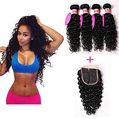 "Perstar Hair 7A Grade Brazilian Water Wave 3 Bundles with Closure Uprocessed Virgin hair with 4""*4"" lace closure free part"
