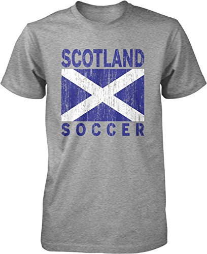 Hoodteez Scotland Soccer, Scottish Flag, Football Men's T-Shirt, L (Celtic Football Shirts)