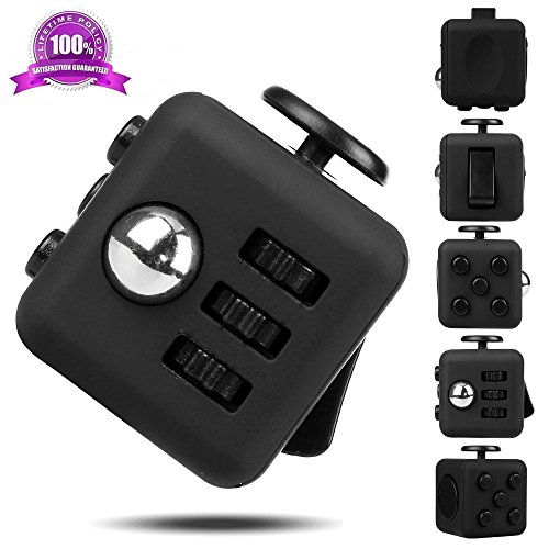 EpochAir Fidget Cube Relieves Stress And Anxiety for Children and Adults Anxiety Attention Toy Black