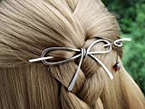 Silver Celtic Silver Hair Stick Spiral Bow Shape Hair Barrette Clip with Purple Glass Beads Add by Chain,Mother's Gift