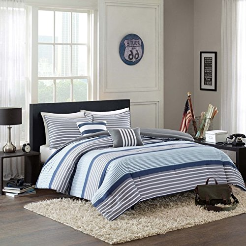 D&H 4 Piece Boys Navy Blue White Grey Stripes Comforter Twin/Twin XL Set, Horizontal Gray Striped Bedding Rugby Stripe Sports Themed Nautical Pattern Modern Lines Pattern Dorm College, Polyester by D&H (Image #2)