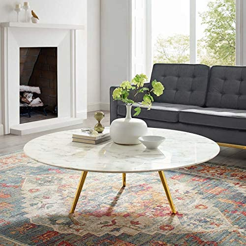 Modway Lippa 47″ Round Artificial Marble Coffee Table