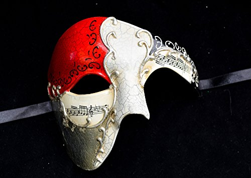 Red Musical Men's Half Mask Music Design Mask Mardi Gras Venetian Mask Halloween Ball Masquerade Mask