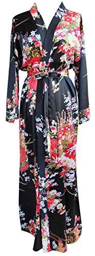 JANA JIRA Women's Long Ankle Length Robe for Women Plus Size Nightgowns, Black Blossom, 2XL/3XL