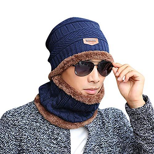 d8ae28714b6 Galleon - EnjoCho Clearance Sale! 2PCS Unisex Winter Beanie Hat Scarf Set  Warm Knit Hat Thick Knit Skull Cap (Navy-1)