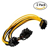 JBingGG 6 pin PCIe to 2 x PCIe 8 (6+2) pin Motherboard Graphics Video Card PCI-e VGA Splitter Hub Power Extension Cable ( 2 Pack 8 Inches ) ( 6 pin to dual 8(6+2) pin )