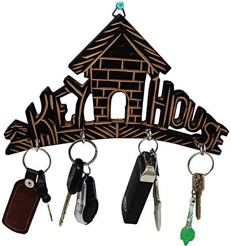 - Wooden Key House,Key Hanger,Wooden Key Holder for Wall,Key Hook for Wall,Key Organizer,Key Hanger for Wall,Wooden Key Holder with Brass and Decorative Design Key Hanger Home Shaped,Wall Key Holder