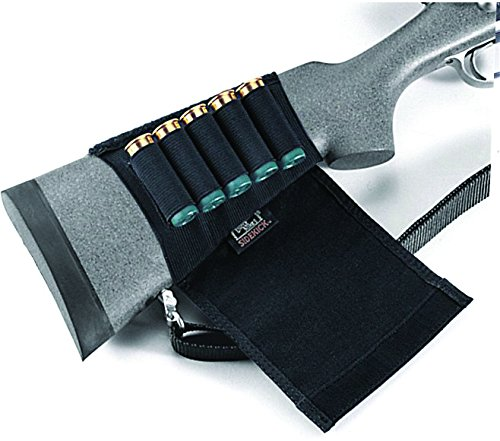 Uncle Mike's Kodra Buttstock Shotgun Shell Holder with Flap (Black) - Shotgun Shell Slide