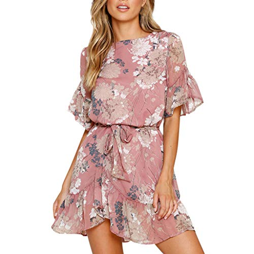 SADUORHAPPY Women's Dress,Fashion Summer Floral Printed Beach Dress Casual Loose Dress Swing Pleated Dresses Mini Dress with Sashes