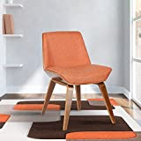 Beautiful Armen Living LCAGSIWAOR Agi Dining Chair In Orange Fabric And Walnut Wood  Finish