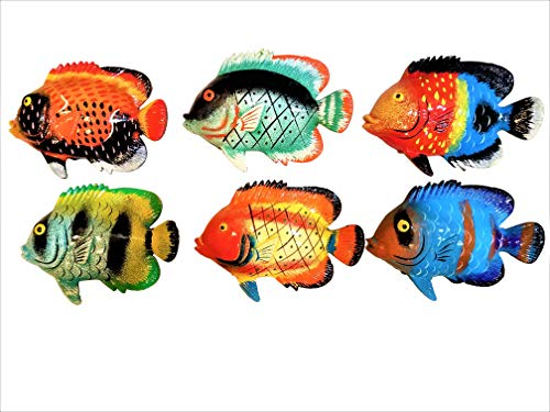 - All Seas Imports Multi-color Exotic Set of (6) Decorative Wall Decor Fish with Free Fish Net