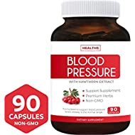 Blood Pressure Support Supplement (Non-GMO) - Premium Natural Herbs, Vitamins & Berries - High Dosage of Hawthorn Extract – Berry Lower Pills – 90 Capsules