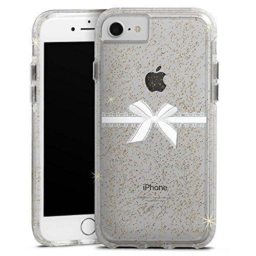 Apple iPhone 7 Bumper Hülle Bumper Case Glitzer Hülle Schleife ohne Hintergrund Spitzen