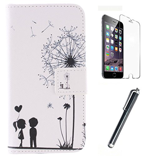 For Galaxy S6 edge G925 , Happy Lovers Style [Stand View] Flip [[Wallet Magnetic] Wallet] PU Leather Protective Case Cover for Samsung Galaxy S6 edge G925 edge G925 + Screen Protector + Touch Stylus