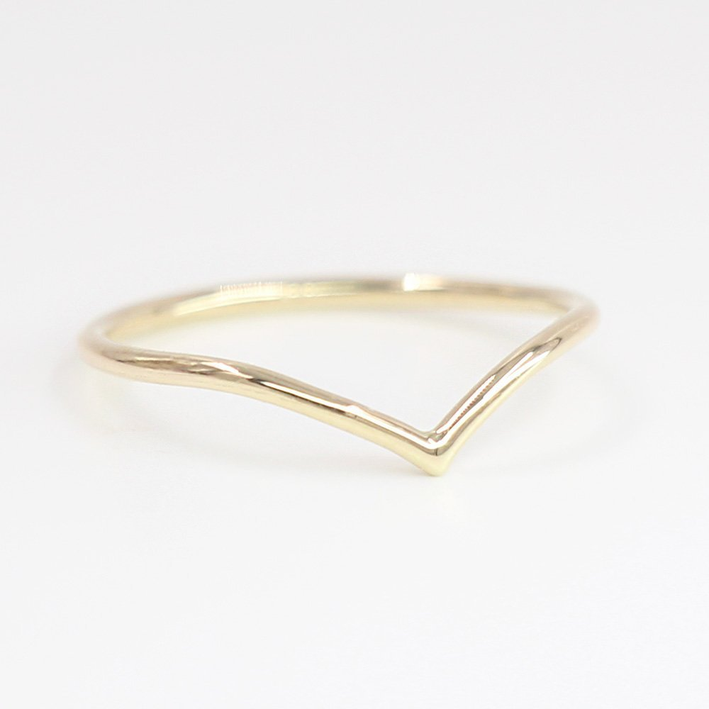 Chevron Ring, 14k Solid Gold, Chevron Dainty Gold Ring, Rose White Yellow Gold Chevron Ring, Midi Ring, Thin Ring
