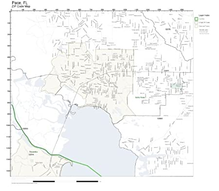 Pace Florida Map.Amazon Com Zip Code Wall Map Of Pace Fl Zip Code Map Laminated