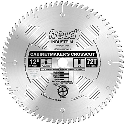 Freud LU73M012 12-Inch 72 Tooth ATB Cabinetmaker's Crosscutting Saw Blade with 1-Inch Arbor