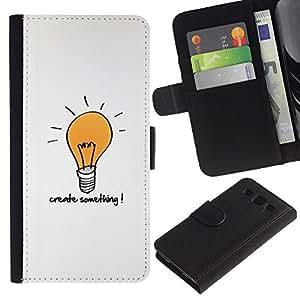 KingStore / Leather Etui en cuir / Samsung Galaxy S3 III I9300 / Crear Algo motivación