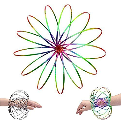 LIDANDAN Flow Rings, Kinetic Rings Toy Fidget Slinky 3D Spring Toy Sculpture Ring Game Toy Rainbow and Silver 2-Pack for Kids Boys and Girl, Rave Accessories, Festival - Pouch Slinky