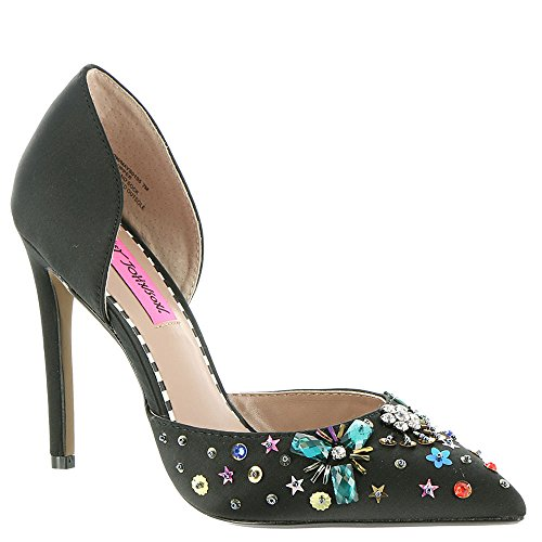 Black Embellished (Betsey Johnson Women's Mayson D'Orsay Pump, Black Satin, 9 M US)
