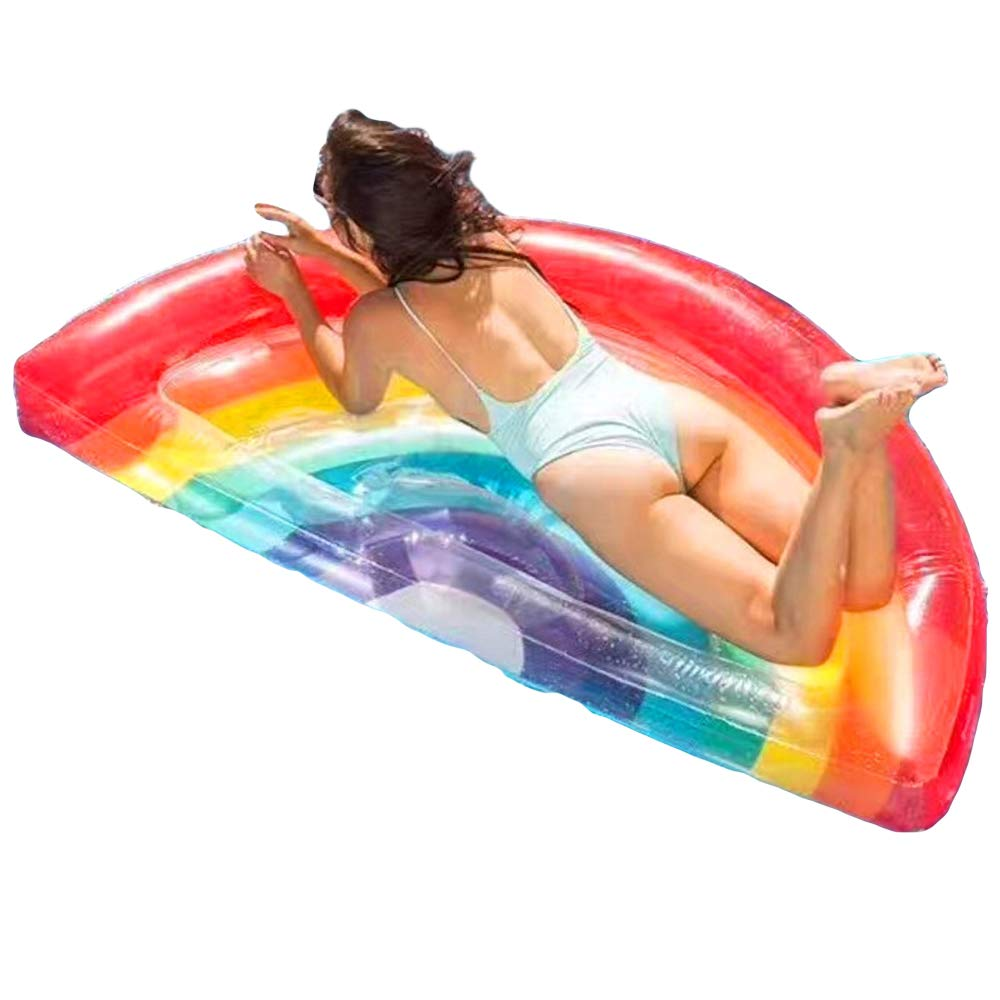 LIDAUTO Inflatable Air Mattress Rainbow Pool Float Black Swimming Board For Adults Water Toy Fun