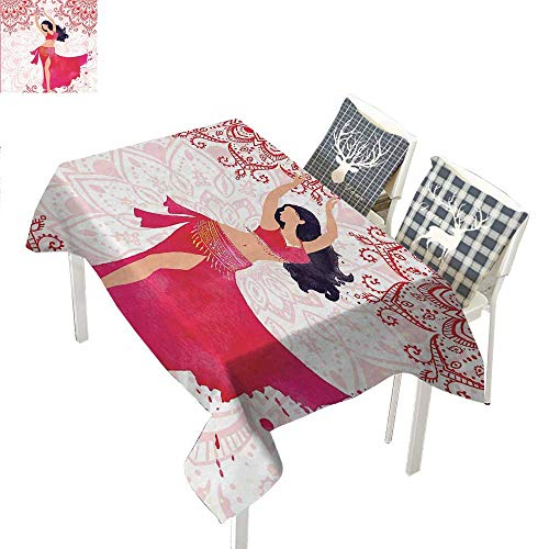 Unique Gifts for Men Picnic Cloth Oriental Belly Dancer Dance Costumes Mandala Bohemian Adult Ornaments Fanciful Home WallFuchsia Red Pink White Rectangle Tablecloth W60 xL120 -